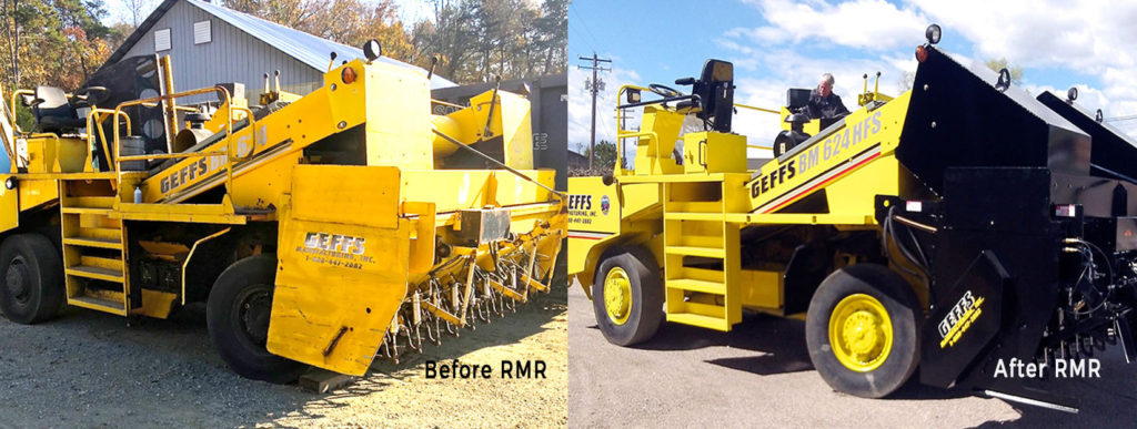 image of a used chip spreader before and after rebuild